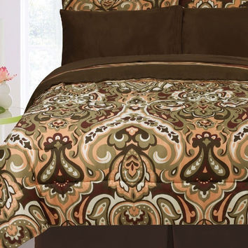 8 Piece Biloxi Sage/ Chocolate/ Coral Reversible Bed Set