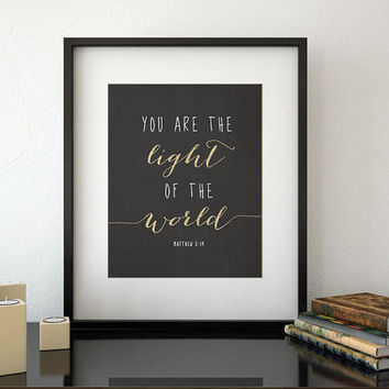 "Bible verse chalkboard printable poster "" you are the light of the world "" Christian wall art, Scripture print, gold glitter accents -chp021"