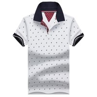 Polo Shirt Men Summer 100% Cotton Printed POLO Shirts Brands Short Sleeve Camisas Polo Stand Collar Male Polo Shirts 3XL