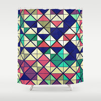 Colorful grid Shower Curtain by Tony Vazquez