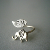 Silver elephant personalized ring with a leaf wrap ring