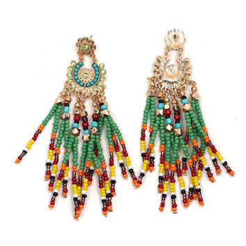 JUJU - Boho Beaded Tribal Fringe Earrings