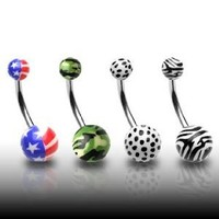 """316L Surgical Stainless Steel Belly Rings with Printed Balls - American Flag - 14G - 7/16"""" Bar Length - Sold Individually"""