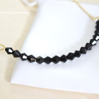 Black Beaded Bar Necklace - Beaded Bar Necklace - Simple Bar Necklace - Modern Jewelry - Minimalist Necklace - Gold Chain Necklace
