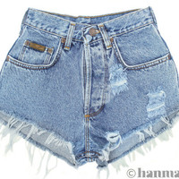 "ALL SIZES ""PLAINO"" Vintage Levi high-waisted denim shorts blue distressed frayed jeans"
