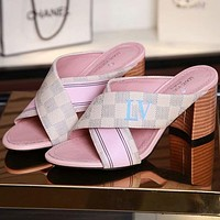Louis Vuitton Women Fashion Casual Heels Shoes Slipper Shoes