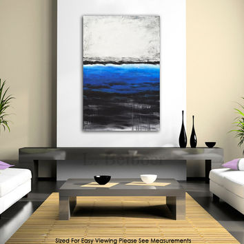 Original abstract painting large contemporary art blue white 24 x 36 modern oil painting by L.Beiboer
