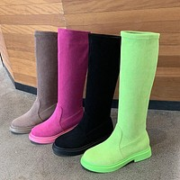Women Fashion Solid Color Faux Suede Slip On Boots