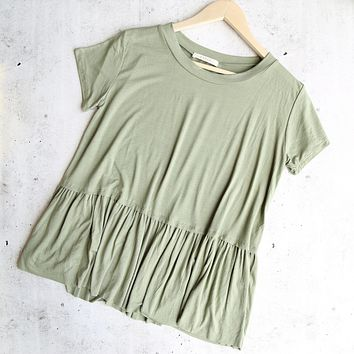 On The Road Peplum Tee in Dusty Olive