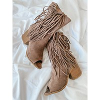 Annie Open Toe Fringe Booties (Taupe)