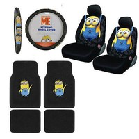 Licensed Official New 9pc Despicable Me Minions Car Floor Mats Seat Covers & Steering Wheel Cover
