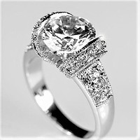 Tisha 3ct Round CZ Tension Set Engagement Ring | 5.5ct
