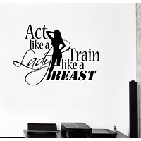 Vinyl Decal Sports Quote Motivation Bodybuilding Gym Woman Fitness Wall Stickers Unique Gift (ig2717)