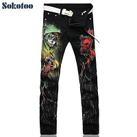 Sokotoo Men's fashion skull printed jeans Slim fit colored drawing casual print denim pants Black long trousers