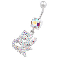 Naughty Names & Words Dangle Aurora Borealis Crystal Belly Button Ring For Girls [Gauge: 14G - 1.6mm / Length: 10mm] 316L Surgical Steel & Crystal