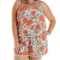 Plus Size Ivory Combo Floral Print Flounce Romper by Charlotte Russe