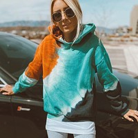 2020 autumn and winter new loose tie-dye hooded sweater women