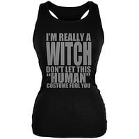 Halloween Human Witch Costume Black Juniors Soft Tank Top