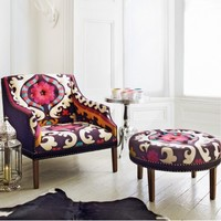 Suzani Print Bath Button Back Armchair and Footstool