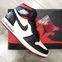 Air Jordan 1 OG AJ1 Classic Popular Women Men Casual Sport Basketball Shoes Sneakers Red&Black