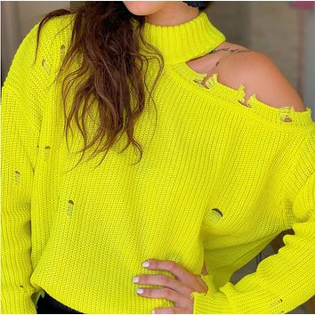New hot sale half high neck long sleeve knitted sexy off-shoulder bib loose sweater women