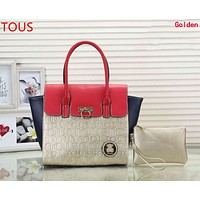TOUS Newest Stylish Women Shopping Leather Handbag Bag Cosmetic Bag Two Piece Set Golden