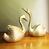 Vintage Brass Swan Planters, Gold Swan Figurines, Brass Swan Statues, Pair, Two, Large