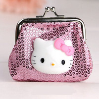 Hello Kitty Mini Paillette Pink Coin Purse Cartoon Samll Wallet
