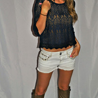 OUT IN THE COUNTRY NAVY LACE TOP