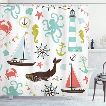 """Ambesonne Nautical Shower Curtain, Pastel Colored Composition of Lighthouse Sailboat Fish Shells Octopus and Anchor, Cloth Fabric Bathroom Decor Set with Hooks, 70"""" Long, Coral Turquoise"""