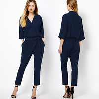 New 2016 Jumpsuit women's overall sexy fashion waist jumpsuit pants overalls XXL plus size Rompers Womens Jumpsuit