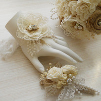 Rustic Shabby Chic Wrist Corsage and/or Boutonniere, Burlap, Sola Flowers, Lace, Rhinestones & Pearl, Rustic Shabby. Made to Order.