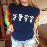 Tie Dye Sleeve Grateful Dead Dancing Bears Long Sleeve Tshirt