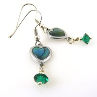 Paua Shell Heart Earrings Blue and Teal with Green Crystal Dangle