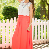 Just As Free Maxi Skirt, Neon Coral