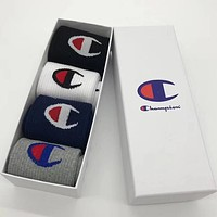 Champion Men Fashion Casual Sport 100% Cotton Socks+Gift Box