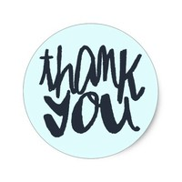 Modern Blue Two-toned Thank You Typography Sticker