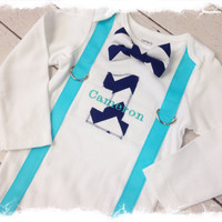 BOYS FIRST BIRTHDAY Outfit-Boys Birthday Bodysuit with Navy Blue Chevron 1and Aqua Suspenders-Cake Smash-Photo Props-Bow Tie with Suspenders
