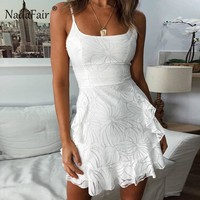 Nadafair White Ruffles Print Summer Dress Women Spaghetti Strap Bodycon Sexy Mini Dress Sleeveless Casual A-Line Dress