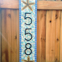 Blue and Aqua Beach House Address Plaque // Mosaic House Number Sign with Starfish