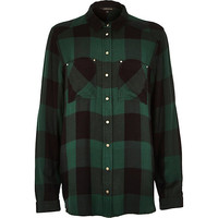 River Island Womens Green check long sleeve shirt