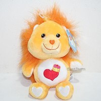"""Licensed cool 2002 8"""" BRAVE HEART LION Care Bears Cousins Plush Bean Bag Toy 20th Anniversary"""