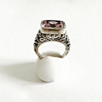 Ornate Ring with Soft Pink Bezel Set Rectangular Gemstone Sterling Silver Filigree Heart Detail Setting Pink Sparkler Boho Style - Size 6.75