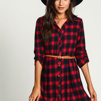 Red Flannel Belted Shirt Dress