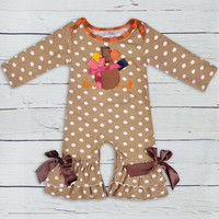 Thanksgiving Days Infant Clothing Baby Boy Girl Outfit Turkey Pattern Fall Jumpsuits Newborn Cotton Girl Clothing R035
