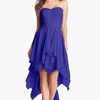 Hailey by Adrianna Papell Pleat Chiffon High/Low Dress (Online Only)