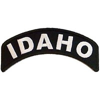 Idaho State White on Black Small Rocker Patch Front for Biker Jacket Vest
