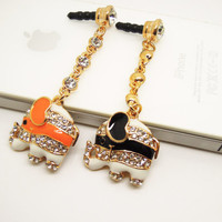 1PC Bling Crystal Cute Animal Cell Phone Earphone Jack Antidust Plug Charm for iPhone 5,5s,Samsung S3,S4 Zodiac Birthday Gift Friend Gift