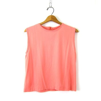 Coral PInk 1960s Shirt Tank Top MOD Sleeveless Blouse Retro Vintage Simple Plain Minimal PIn Up Hipster Girl Top Louannes Vintage Size Large