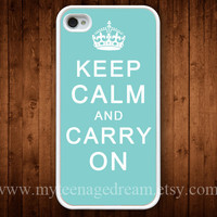iphone case 4s, iphone 4 case, iPhone 4s Case, Keep Calm and Carry On Painting white hard case for iphone 4, iphone 4S